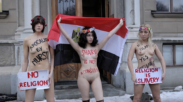 femen and aliaa elmahdy protest morsi in stockholm - pIV43YFnHN